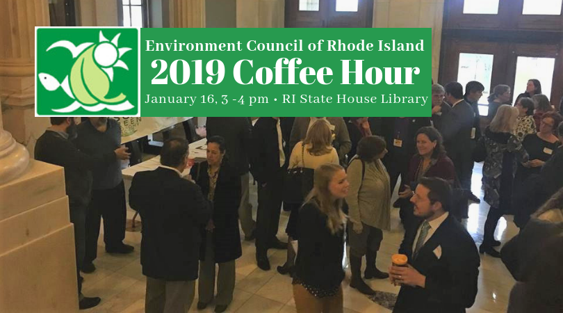 Photo and graphic 2019 Environment Council of Rhode Island's Coffee Hour, January 16, 3-4pm RI State House Library